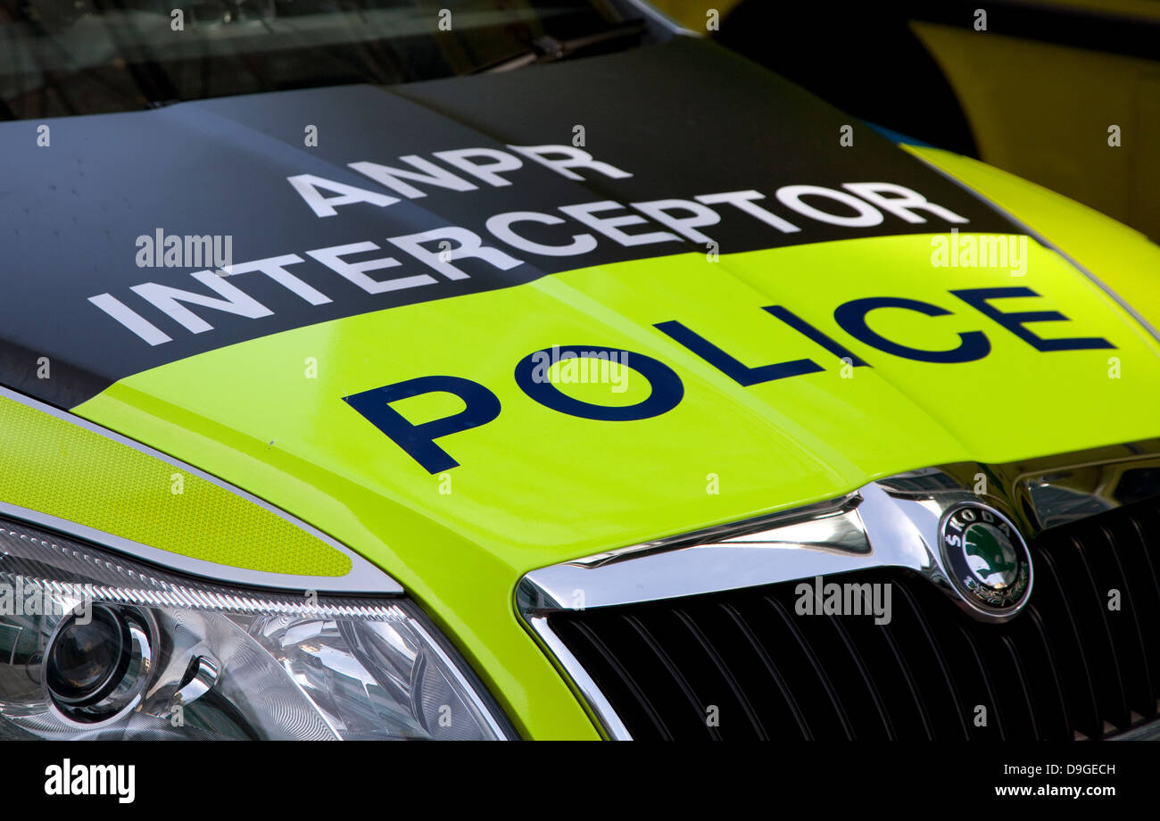 Police car fitted with Automatic Number Plate Recognition cameras, London - Stock Image