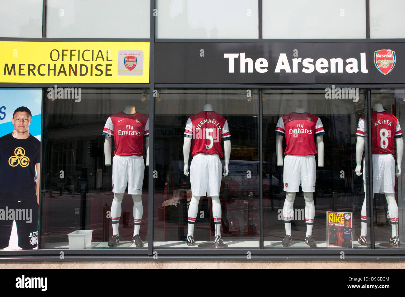 1e17eb922eb Arsenal FC official merchandise shop, Finsbury Park, London Stock ...