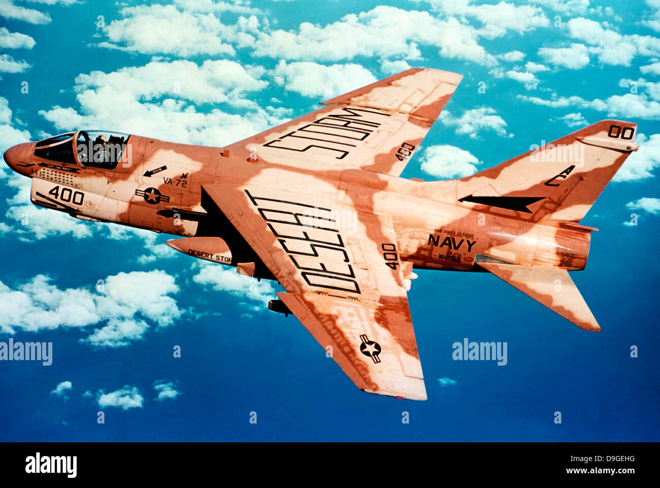 An A-7 Corsair II attack aircraft in flight during Operation Desert Storm. - Stock Image