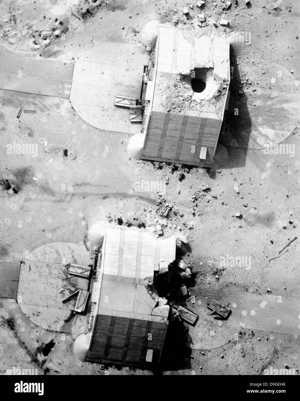 A coalition bombing of aircraft hangers during Operation Desert Storm. - Stock Image