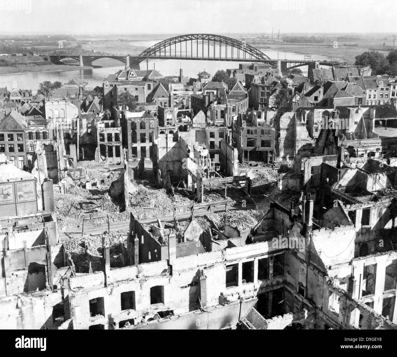 A view of the city of Nijmegen, Holland, after it was destroyed during WWII. - Stock Image