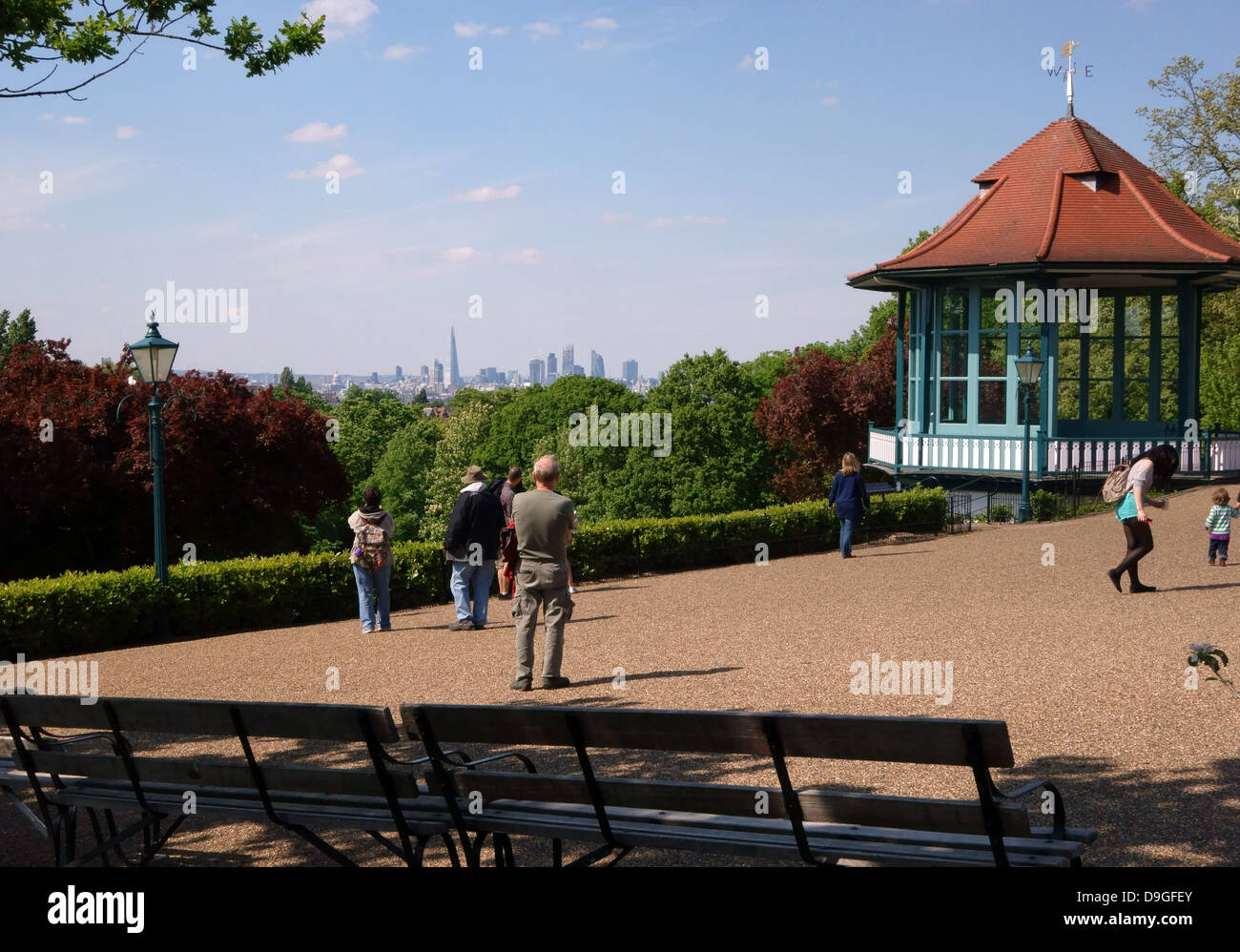 View from Horniman Gardens in Forest Hill, South London with City skyline in distance Stock Photo