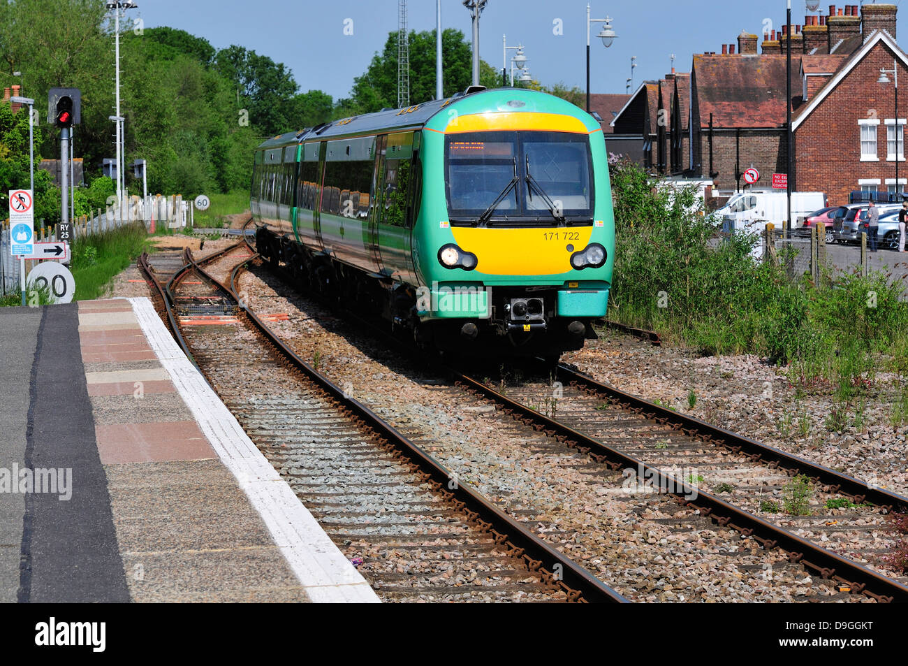 Rye, East Sussex, England, UK. 'Southern' train entering station (171 class Turbostar DMU - Diesel Multiple - Stock Image