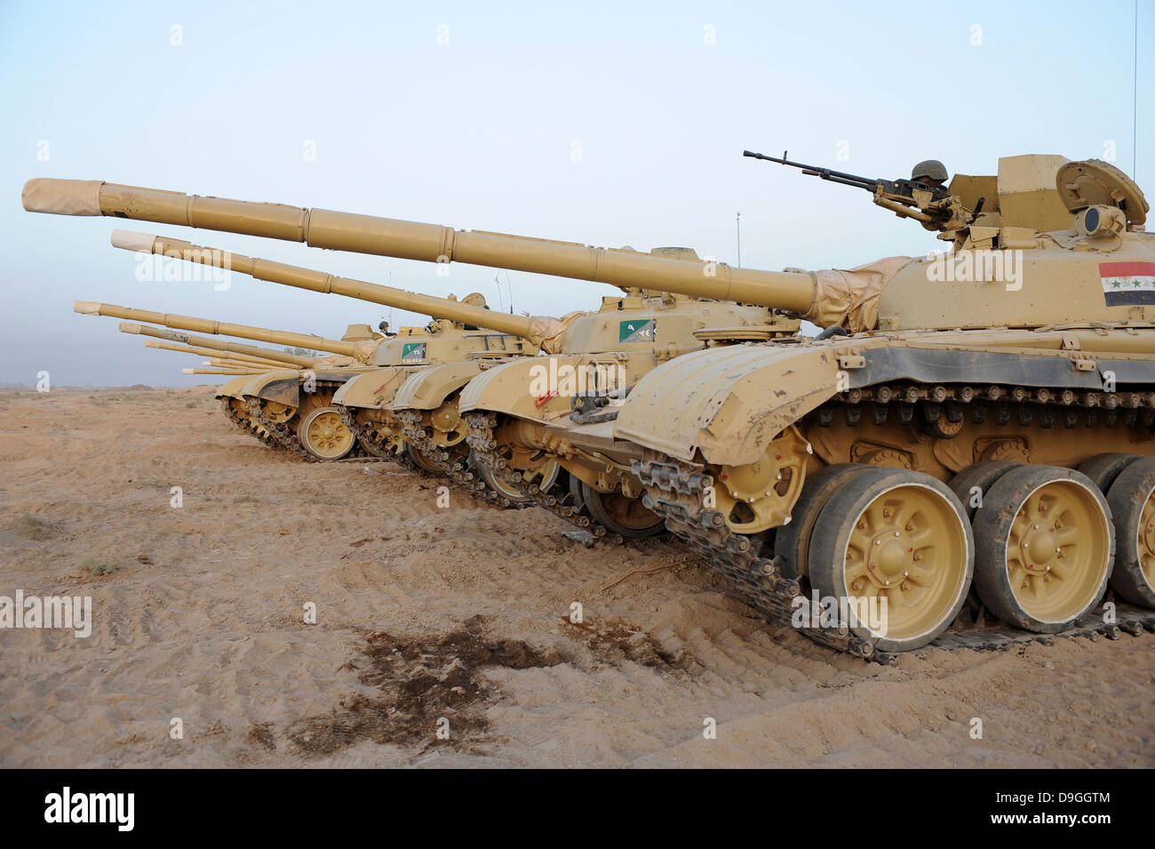 Iraqi T-72 tanks from Iraqi Army Brigade - Stock Image