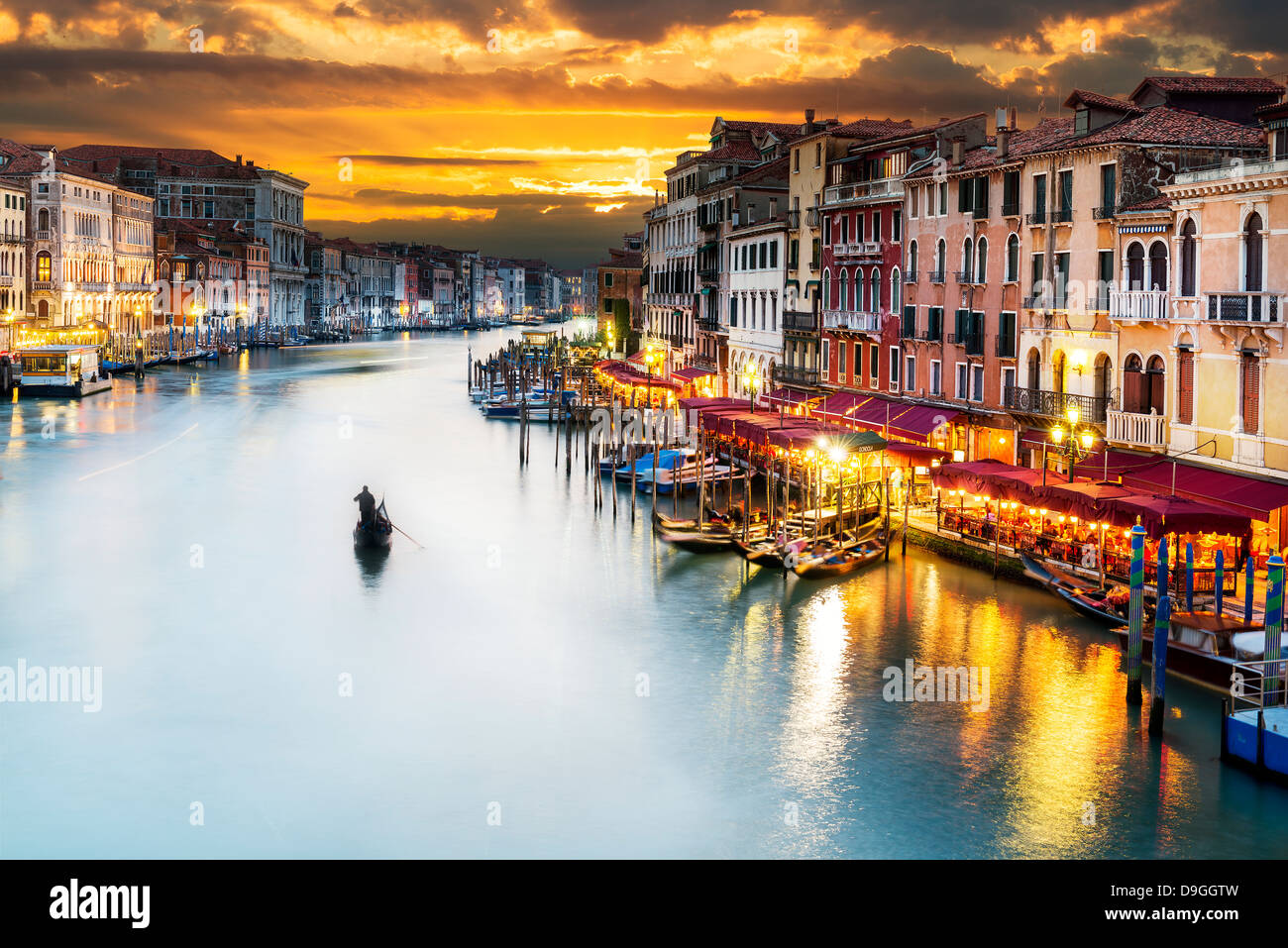 famous grand canale from Rialto Bridge at blue hour, Venice, Italy - Stock Image