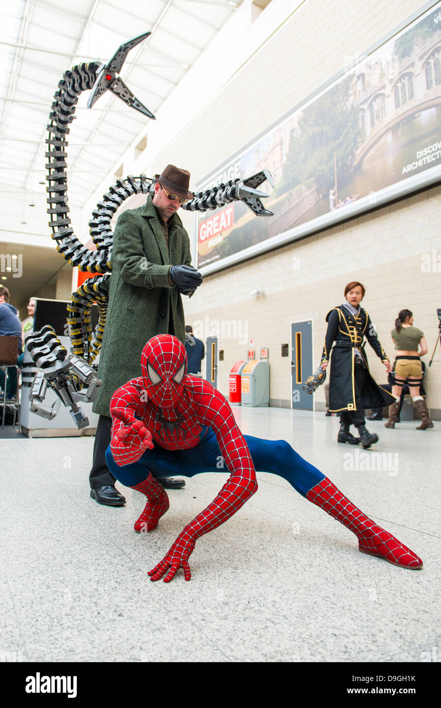 London Uk May 26 Spiderman And Doctor Octopus Cosplayers Posing