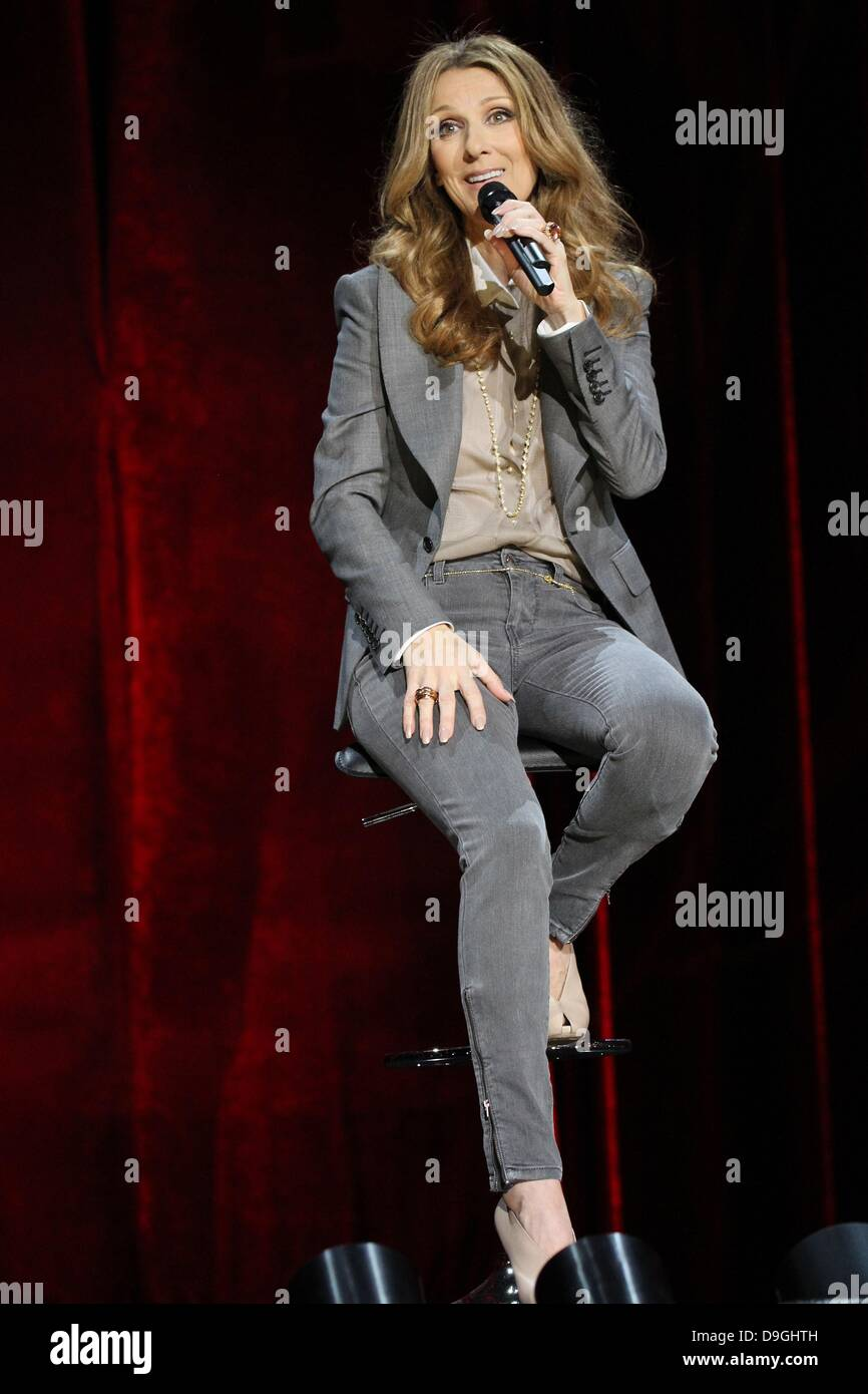 Celine Dion  Celine Dion's Momentous Return To The Colosseum Press Conference at Caesars Palace Resort and Casino Stock Photo