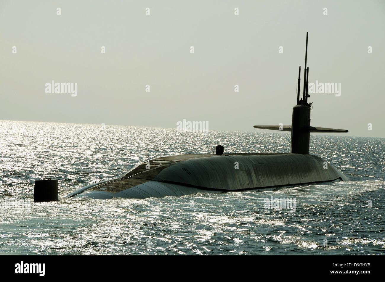 The ballistic missile submarine USS Maryland. - Stock Image