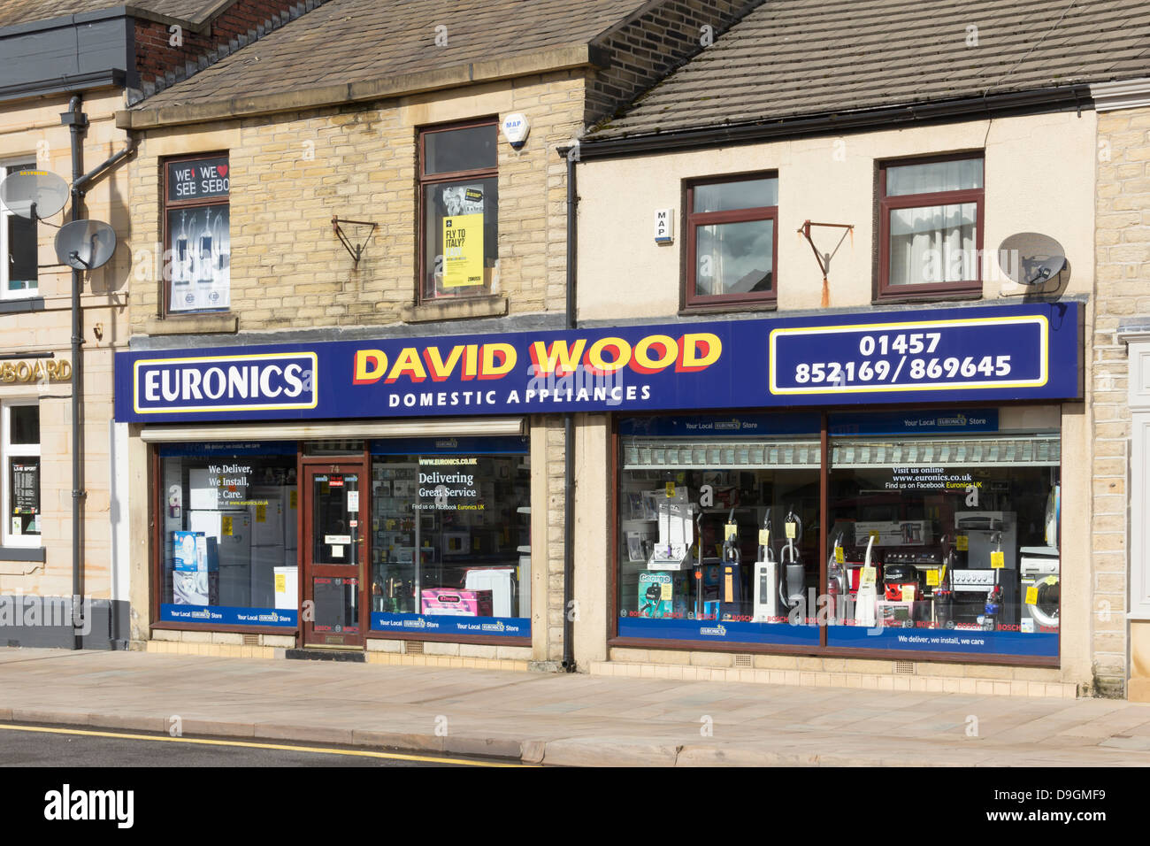 David Wood Domestic Appliances on High Street West, Glossop, an independent shop, part of the Euronics electricals Stock Photo
