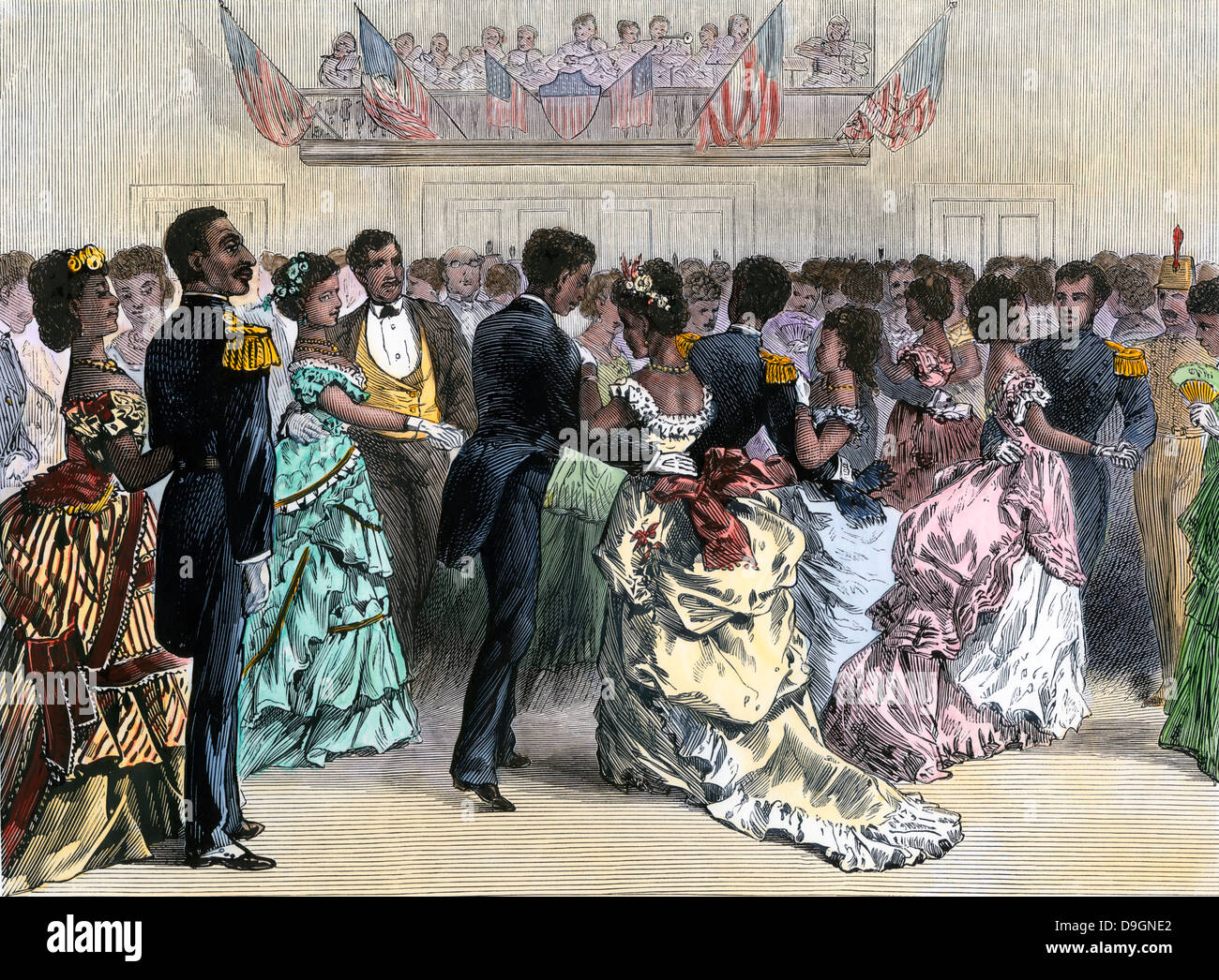 Ball of the Skidmore Guard, a black military organization, NYC, 1870s. Hand-colored woodcut - Stock Image