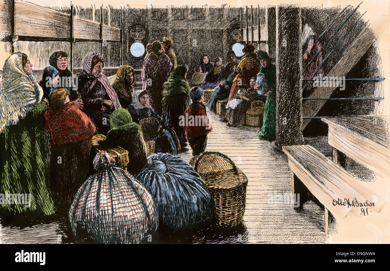 European emigrants in steerage section of steamship to the US, 1890. Hand-colored woodcut - Stock Image