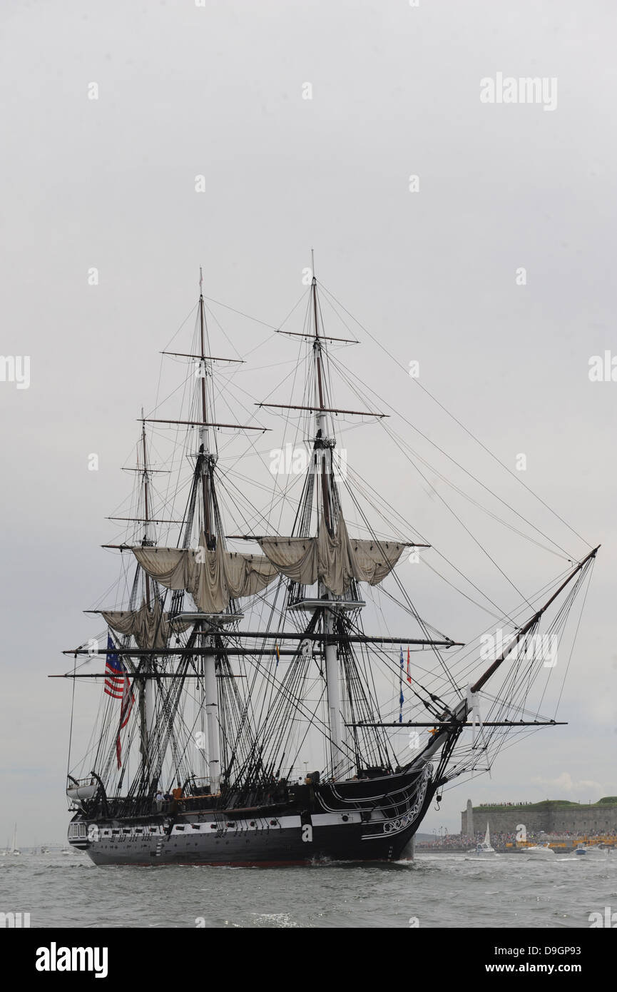 The world's oldest commissioned warship, USS Constitution. - Stock Image