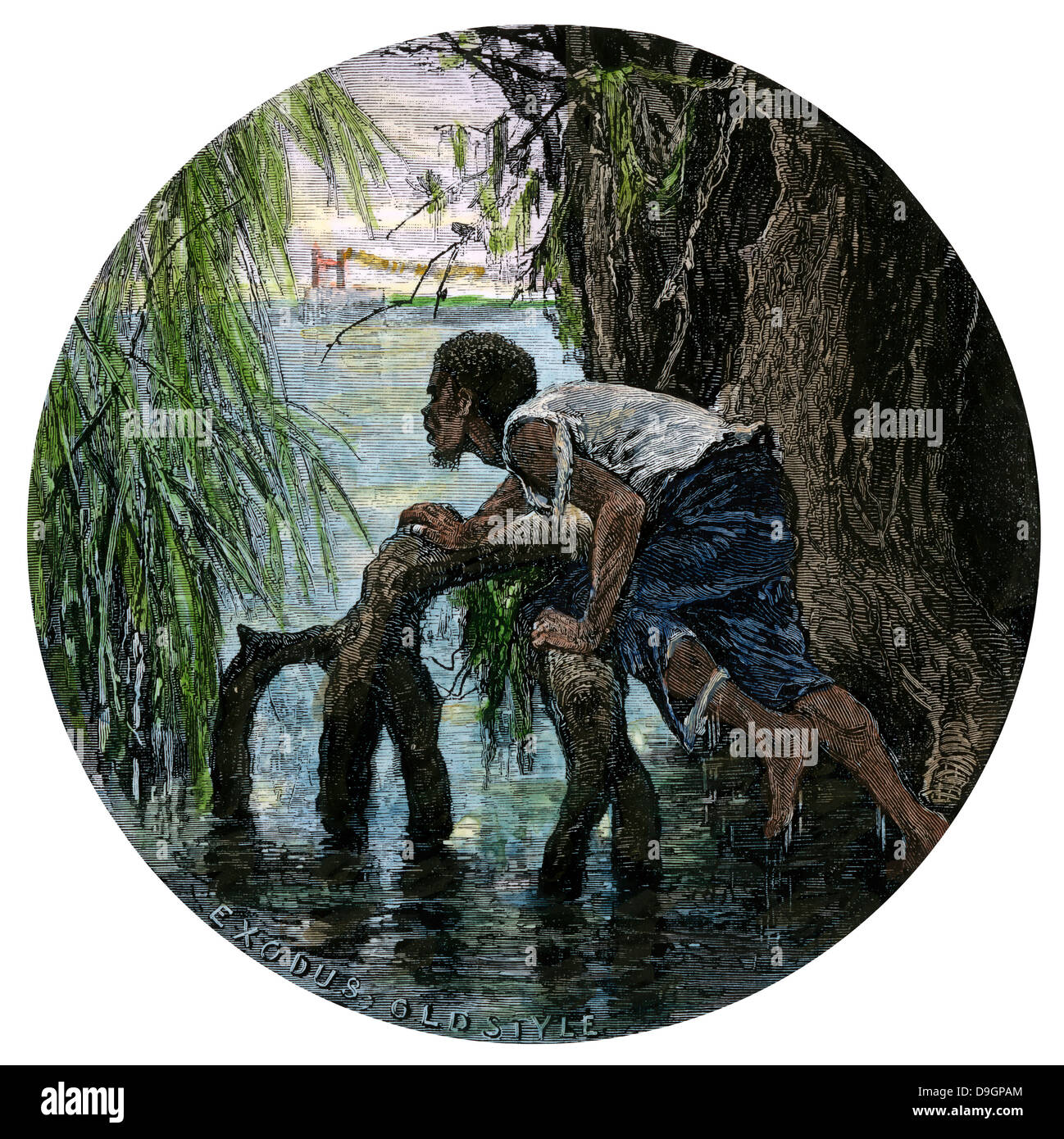 African-American escaping slavery by crossing the Ohio River, 1850s. Hand-colored woodcut - Stock Image