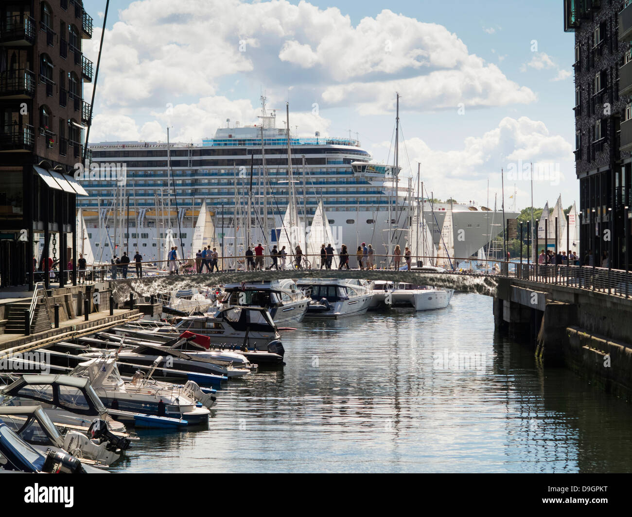 Oslo Harbour and cruise ship, Norway, Europe Stock Photo