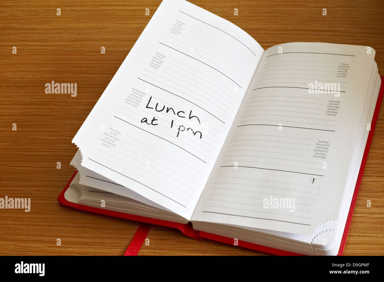 Generic diary showing lunch appointment - Stock Image