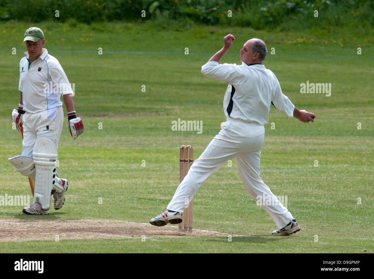 Village cricket at Ashorne, Warwickshire, UK Stock Photo