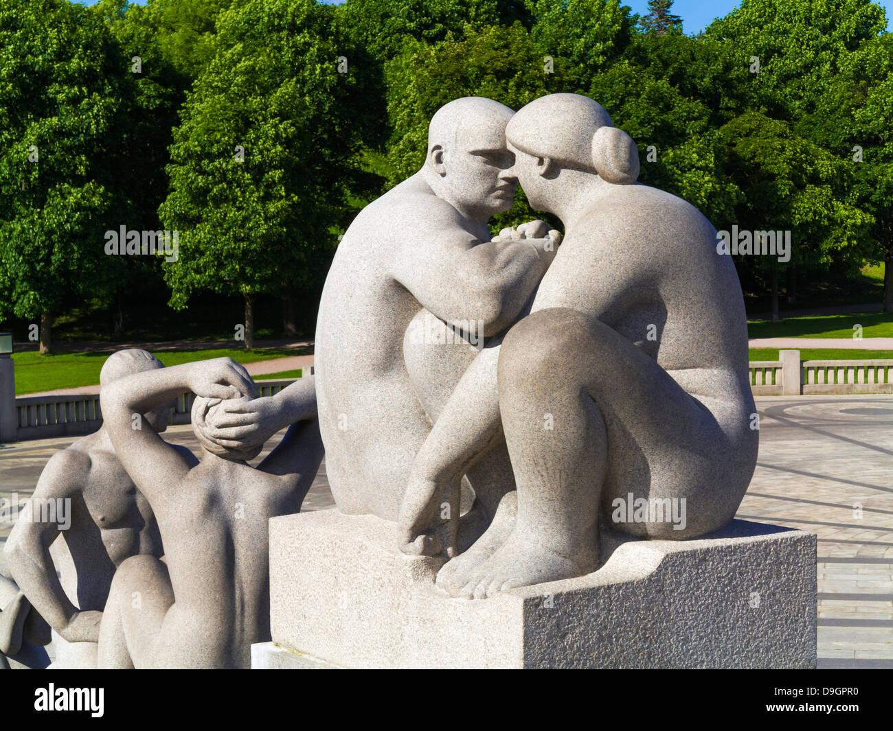 Oslo, Norway - Sculptures in Vigelandsparken Sculpture Park in Oslo, Norway - Stock Image