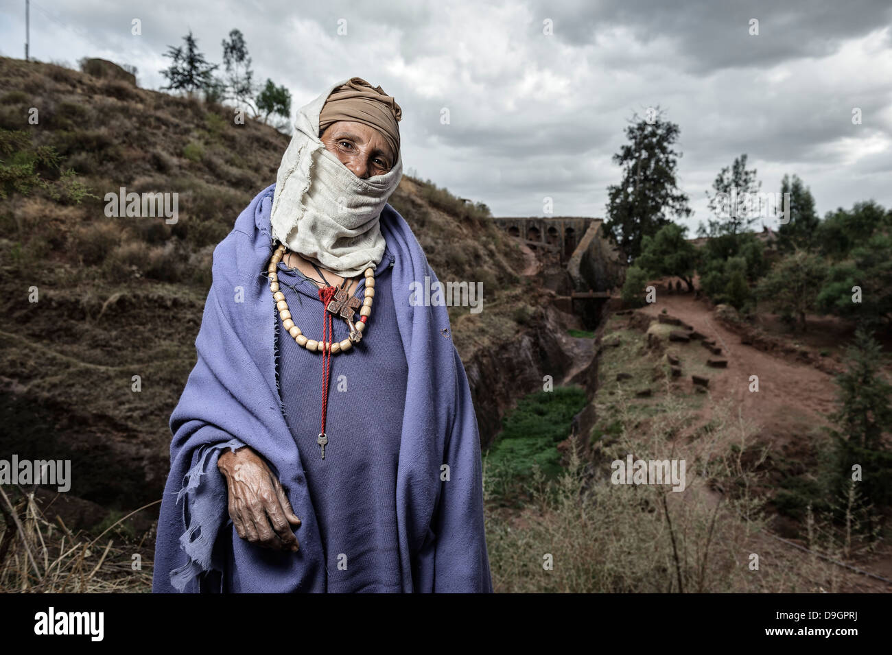 Portrait of a Christian Orthodox nun in the old city of Lalibela, Ethiopia - Stock Image