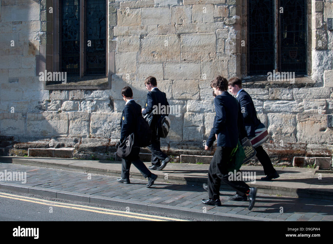 Schoolboys from King Edward VI Grammar School, Stratford-upon-Avon, UK - Stock Image