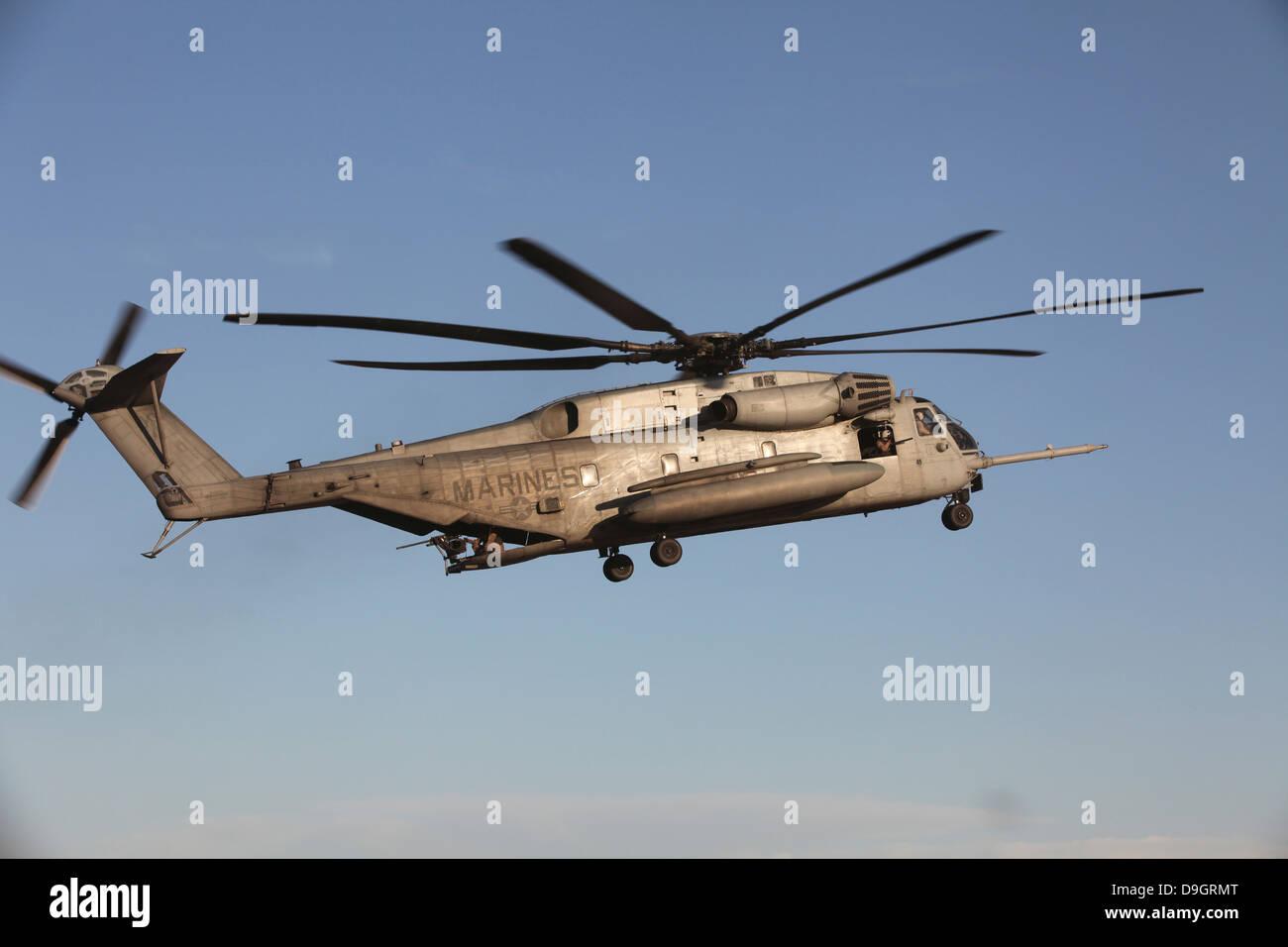 A U.S. Marine Corps CH-53 Sea Stallion helicopter. Stock Photo