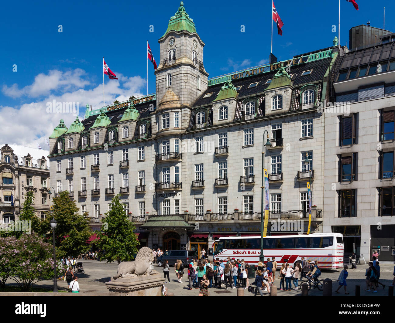 City of Oslo - The Grand Hotel where the Nobel Peace Dinner is held, Oslo, Norway, Europe - Stock Image