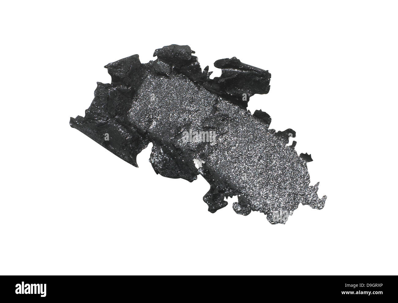 black eyeshadow smear cut out onto a white background - Stock Image