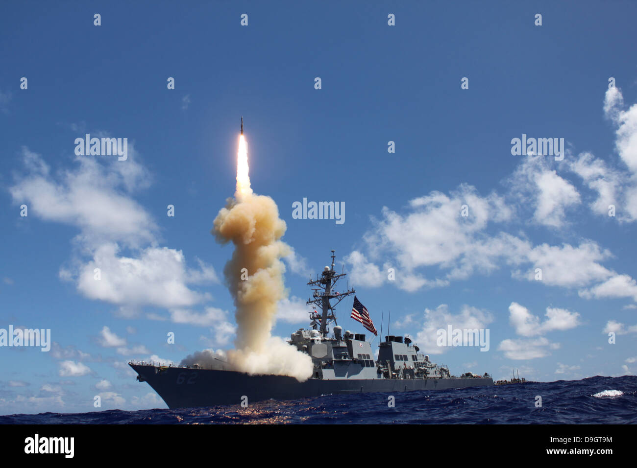 The guided-missile destroyer USS Fitzgerald launches a Standard Missile-3. - Stock Image