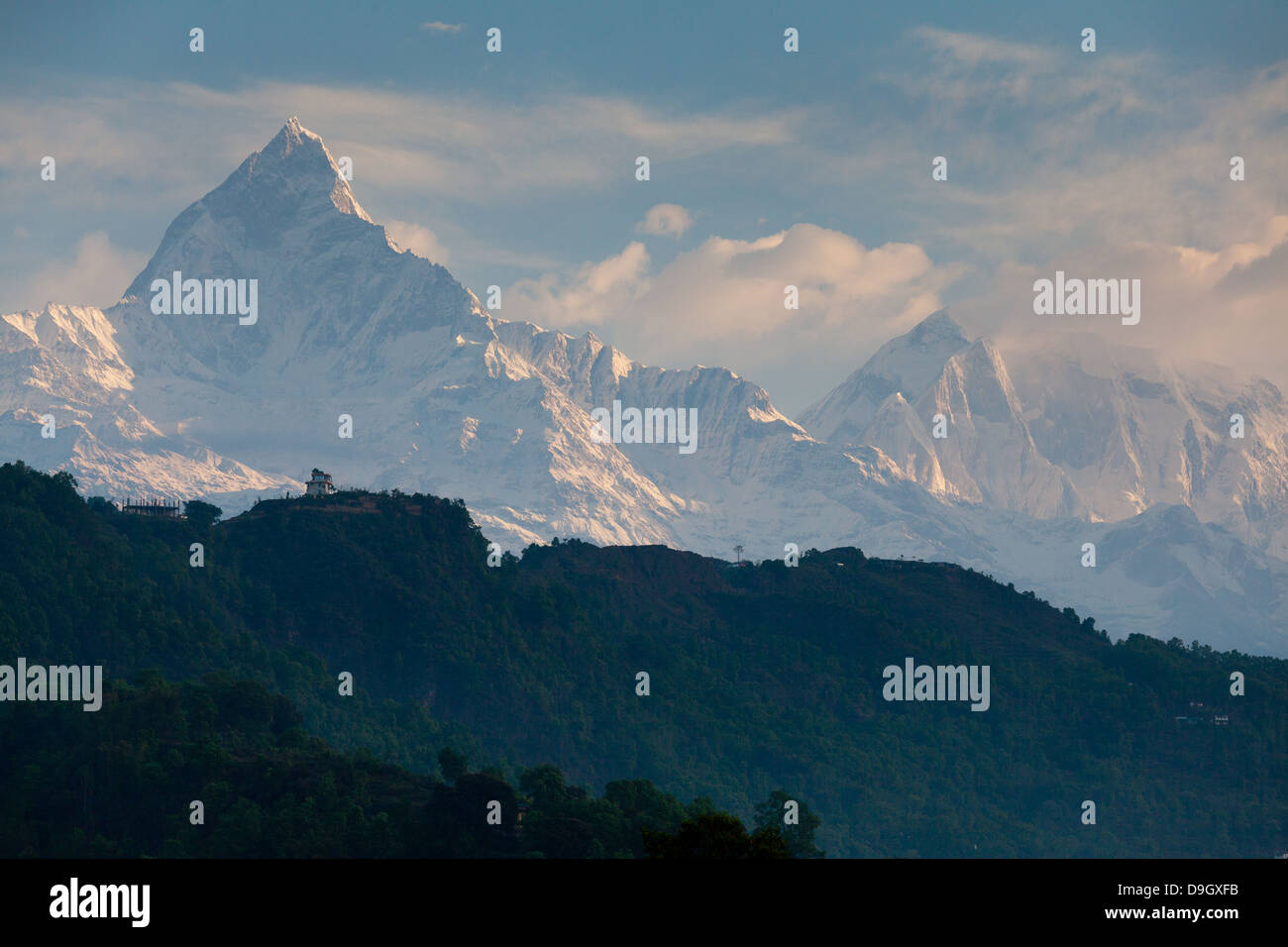 Early morning view of Machapuchare from Pokhara Nepal - Stock Image