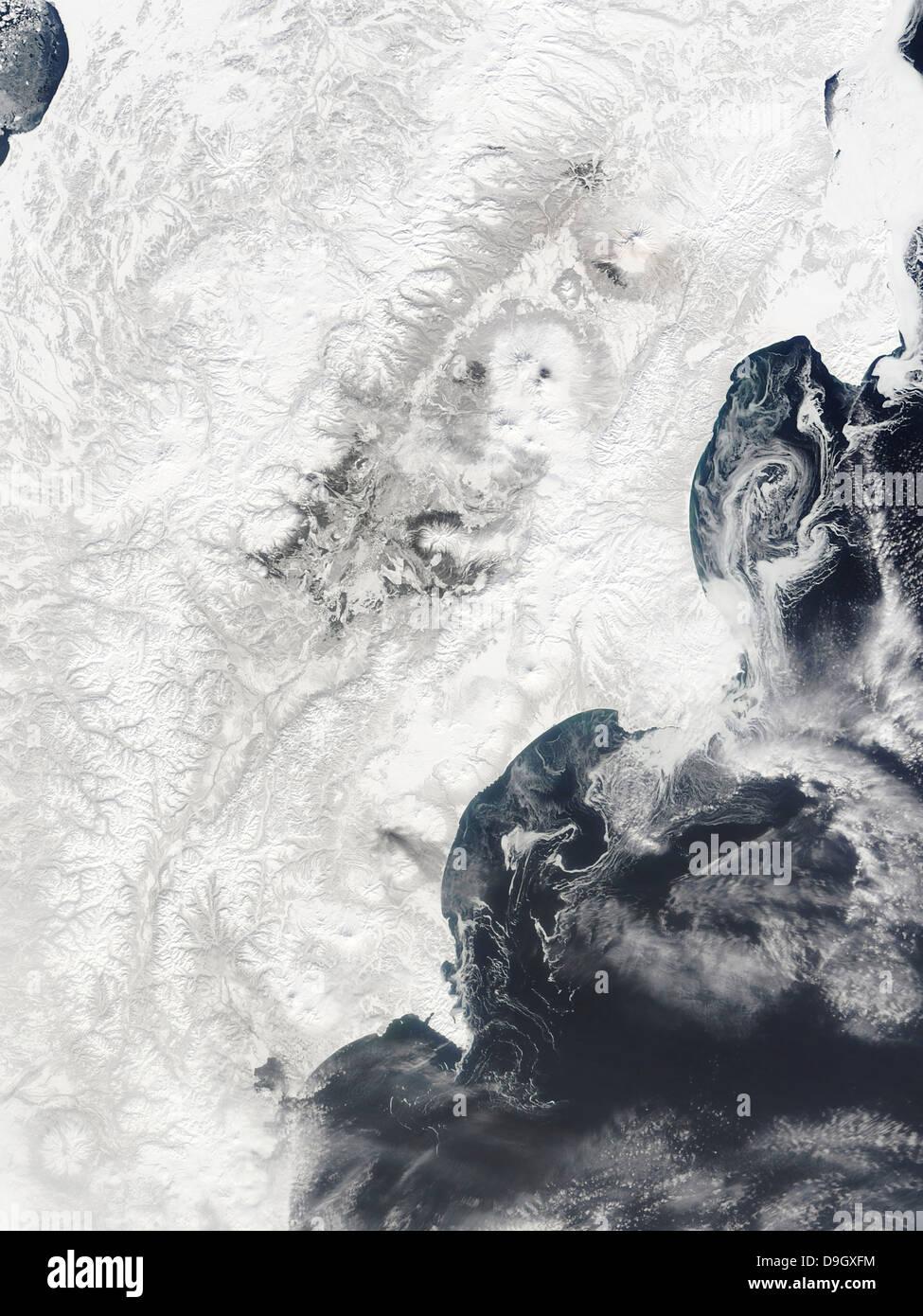 April 2, 2010 - Volcanoes in central Kamchatka Peninsula, eastern Russia. Stock Photo