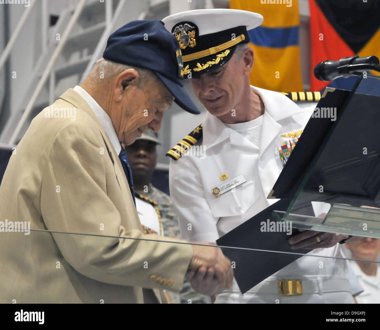 A World War II Navy veteran graduates boot camp. - Stock Image