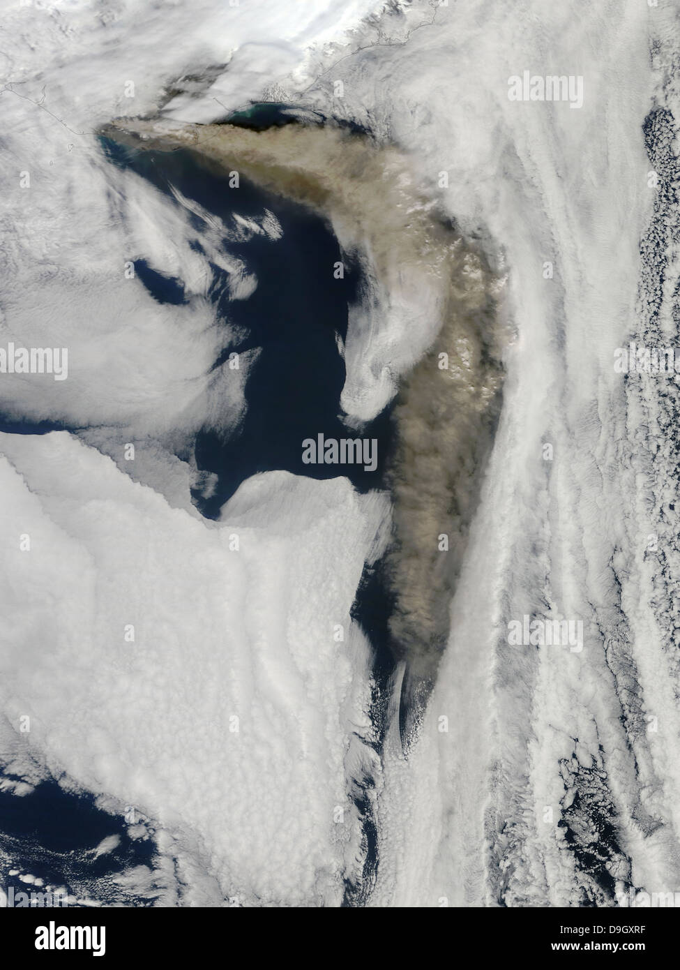 Satellite view of a thick plume of ash rising from the Eyjafjallajokull volcano. - Stock Image