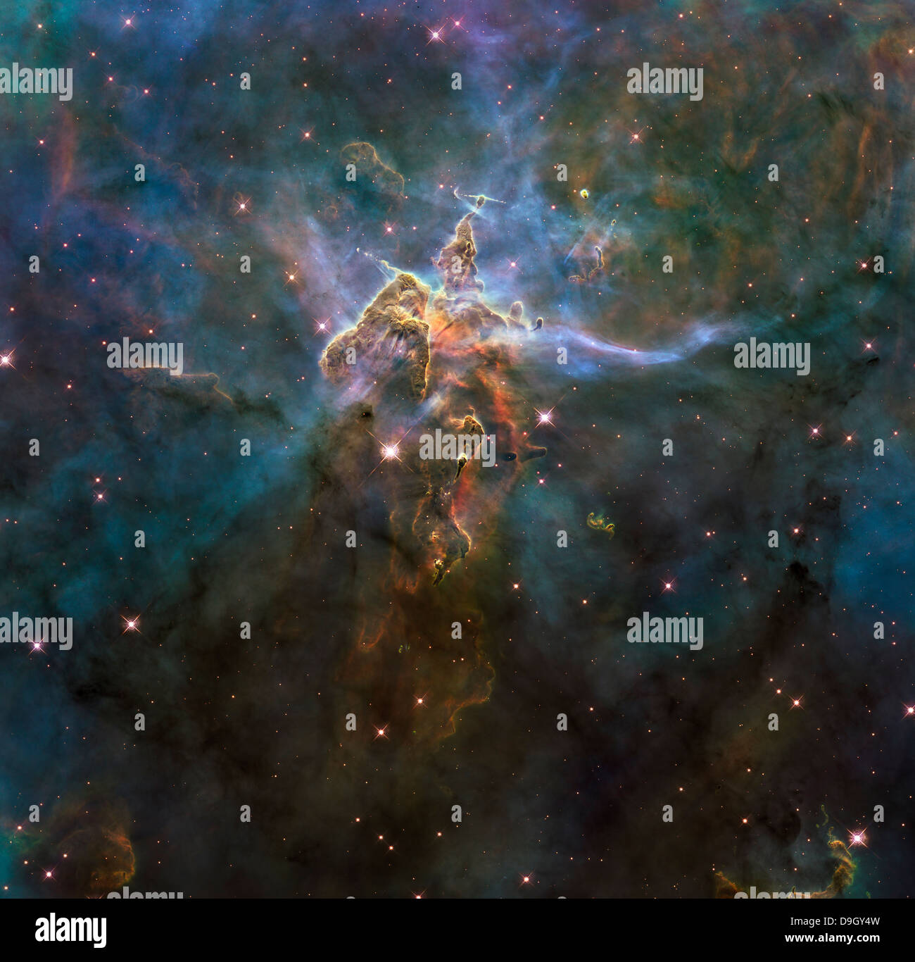 Carina Nebula Star-forming Pillars and Herbig-Haro Objects with Jets. - Stock Image