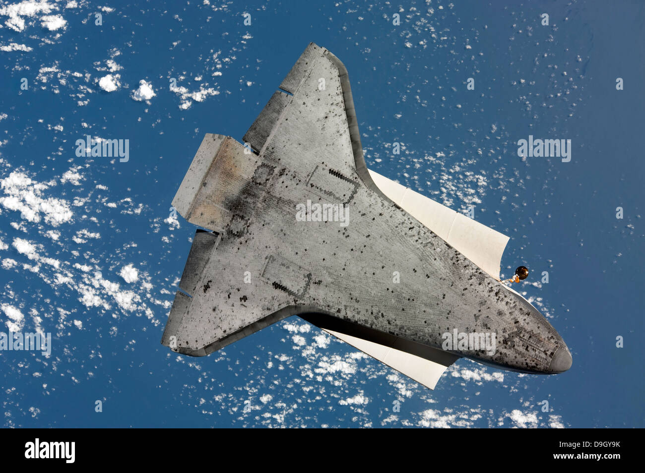 April 7, 2010 - The underside of space shuttle Discovery. - Stock Image