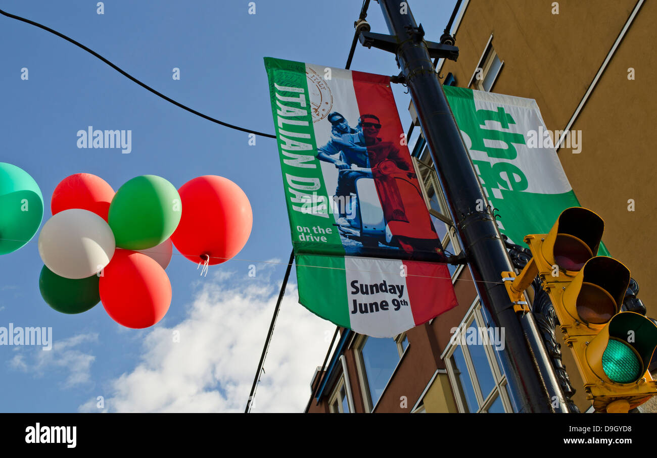 Colourful banners and balloons mark Italian Day 2013 on Commercial Drive in East Vancouver, BC, Canada.  East Van. - Stock Image