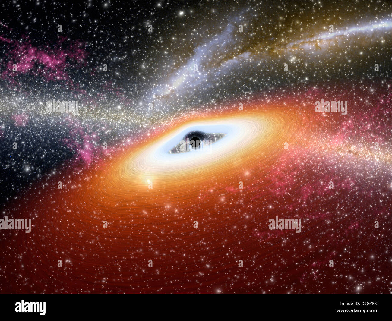 Illustration of a supermassive black hole at the core of a young, star-rich galaxy - Stock Image