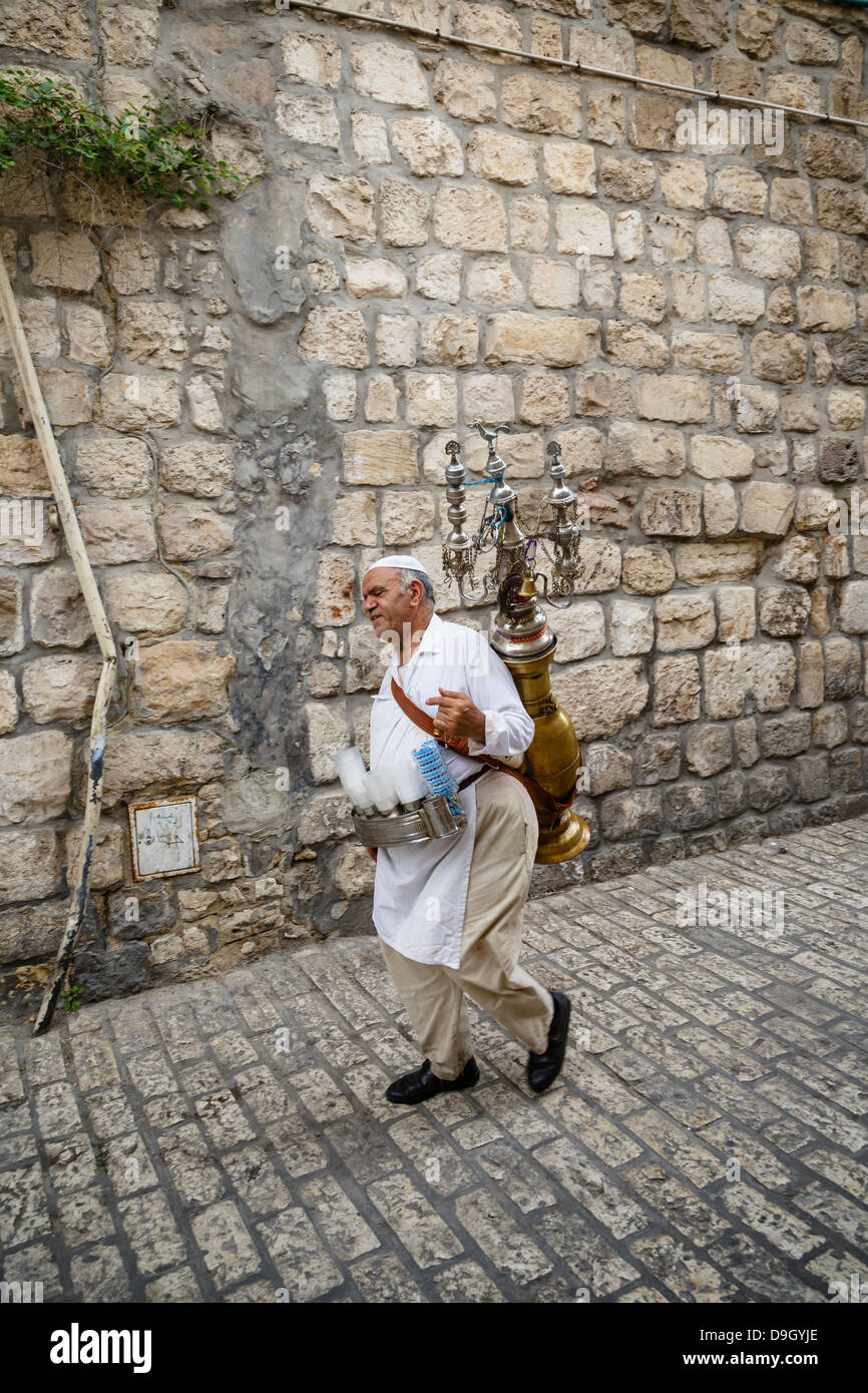 Traditional water seller in the old city, Jerusalem, Israel. - Stock Image