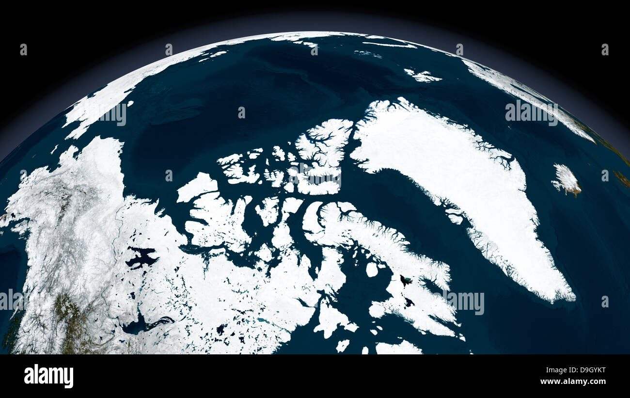 View over Greenland and the Arctic Ocean. - Stock Image