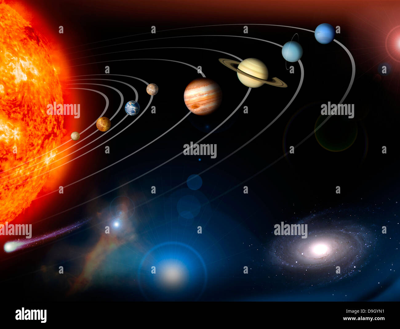 Digitally generated image of our solar system and points beyond. - Stock Image