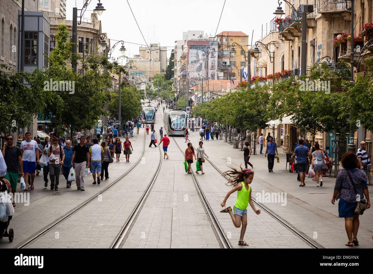 Trams at Jaffa street, Jerusalem, Israel. - Stock Image
