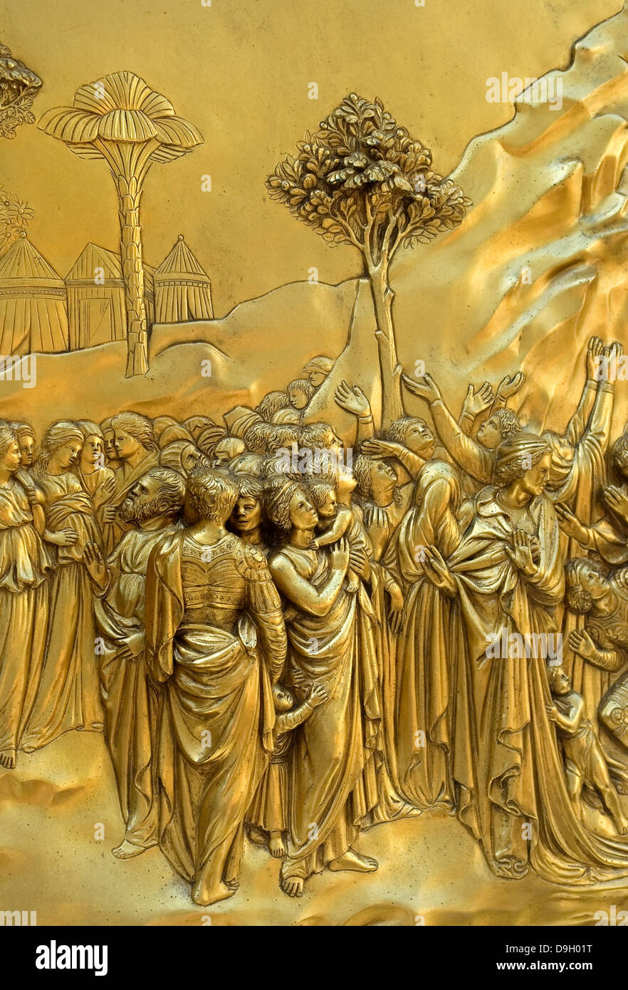 Florence, Tuscany, Italy. Eastern Doors of the Baptistry (Lorenzo Ghiberti - 1452) Detail from The Sacrifice of - Stock Image