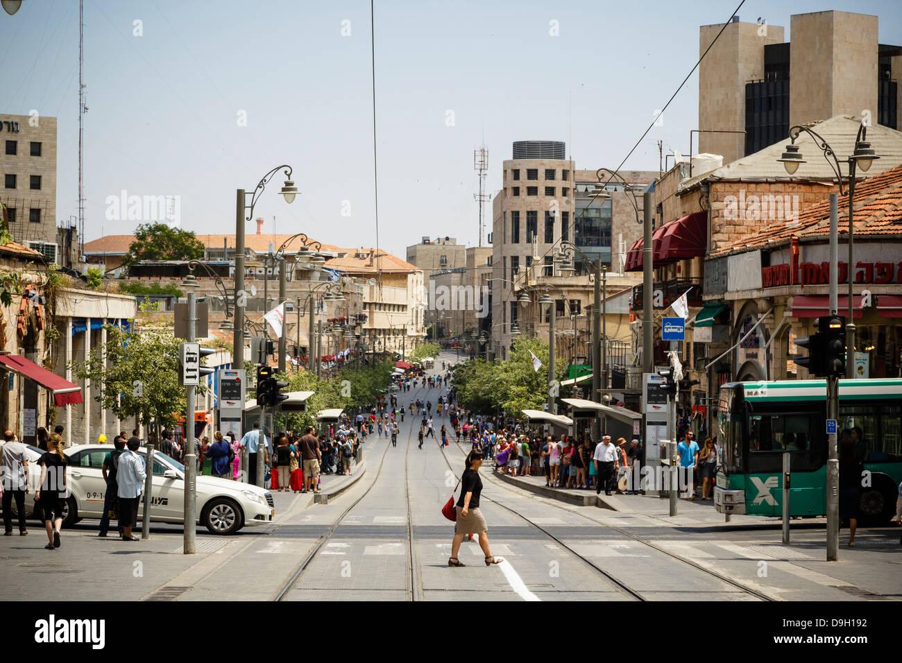Jaffa street, Jerusalem, Israel. - Stock Image