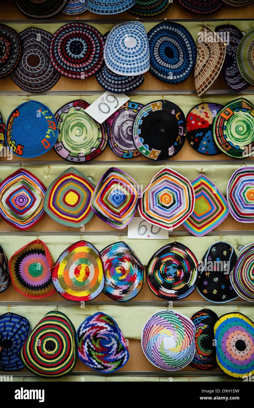 Colorful kipas, Jerusalem, Israel. - Stock Image