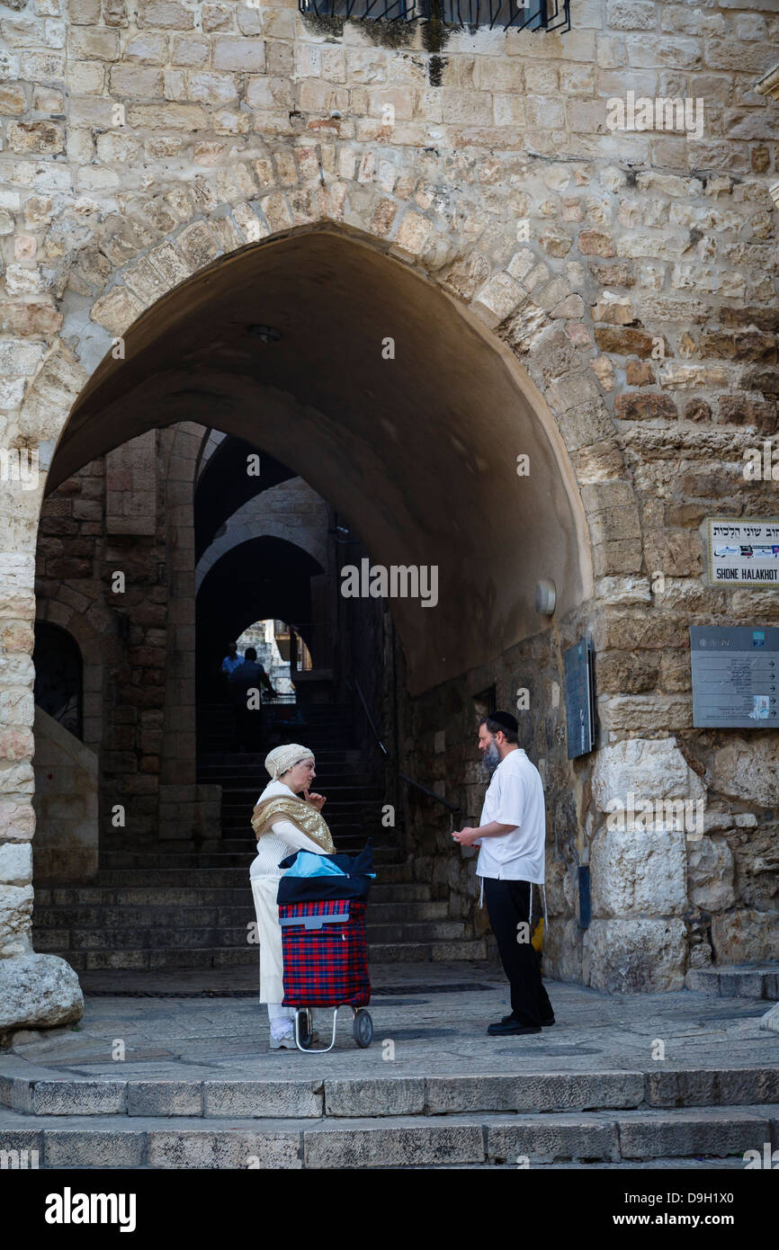 Street scene from the Jewish Quarter in the old city, Jerusalem, Israel. - Stock Image
