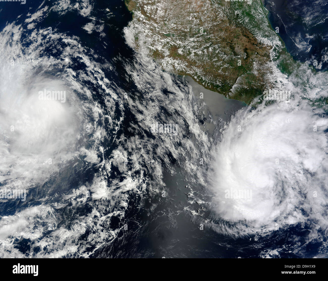 Tropical Storms Blas and Celia circulate in close proximity to each other in this satellite view. - Stock Image