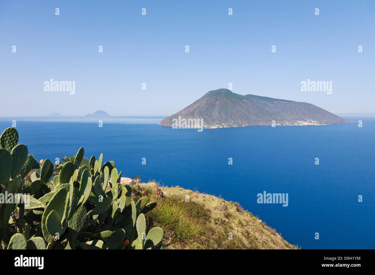 Quattopani viewpoint over Salina, Filicudi and Alicudi far left, Lipari, Aeolian Islands, Italy - Stock Image