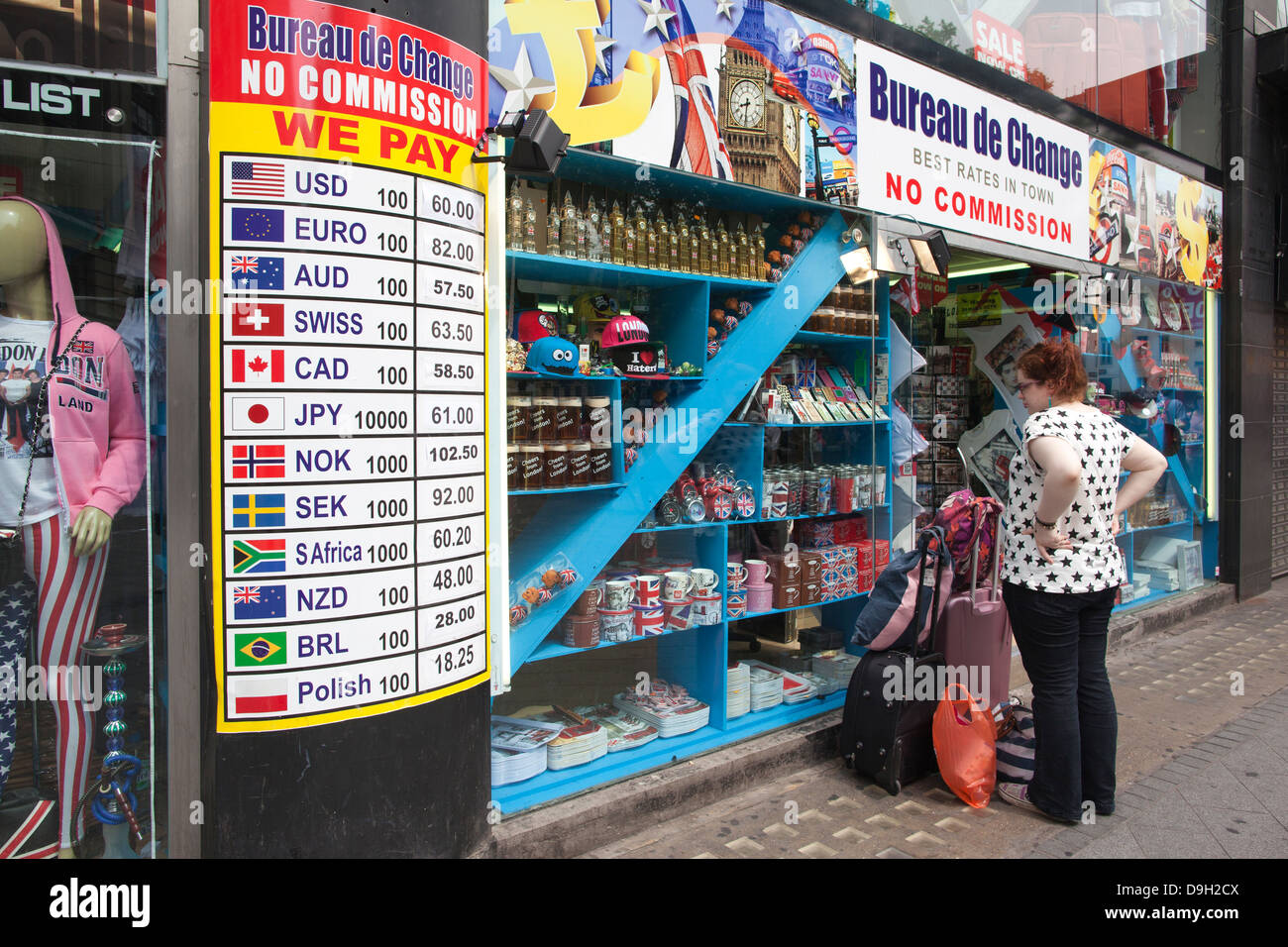 Bureau de Change, Leicester Square, West End, London, UJK - Stock Image