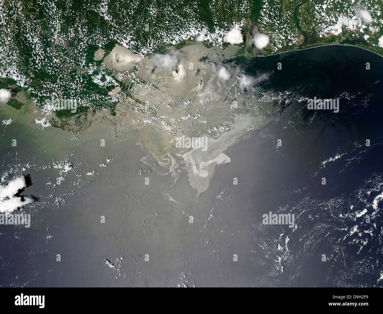Oil slick in the Gulf of Mexico. - Stock Image