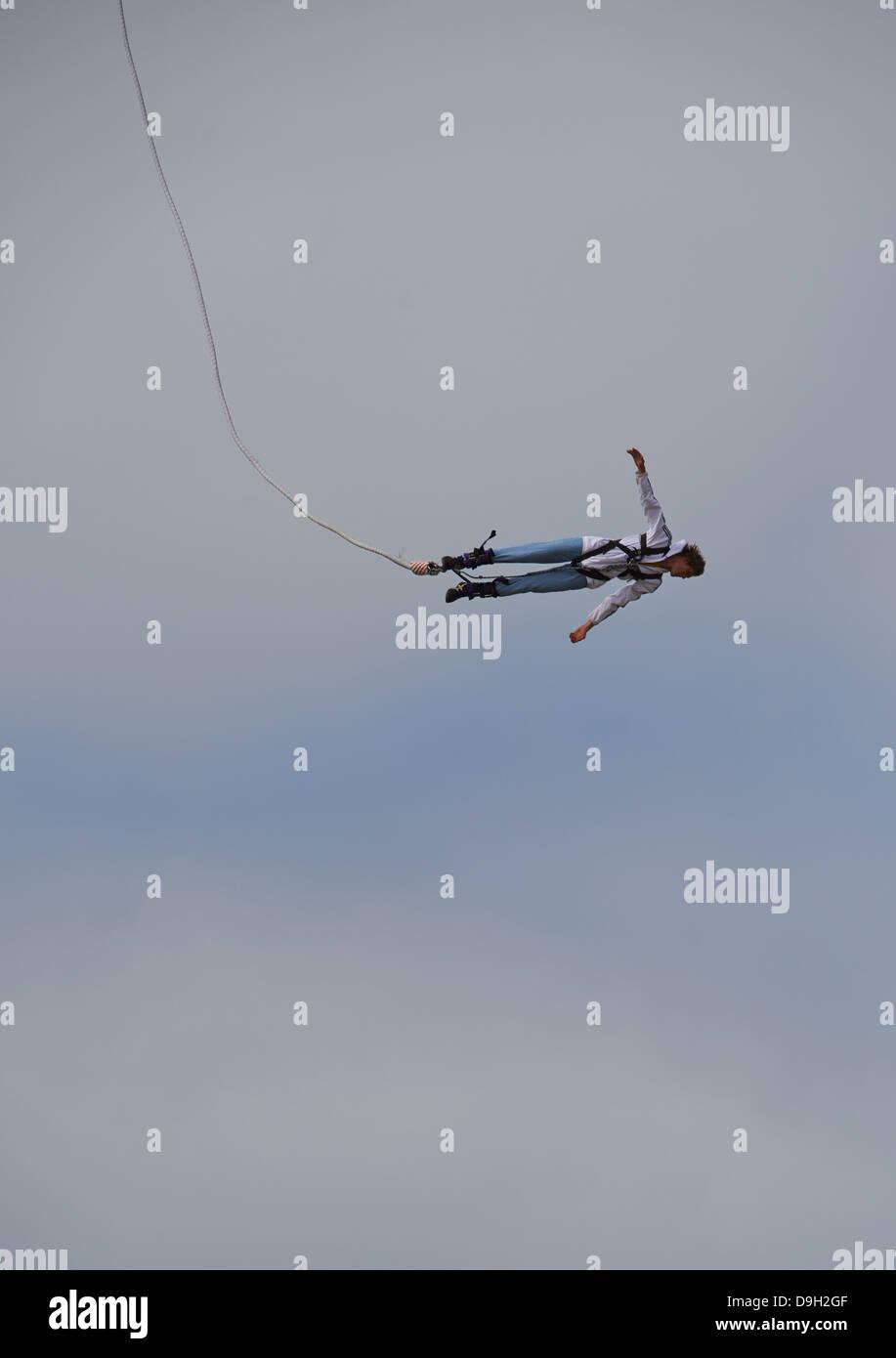 Bungee jumping from the pier, Scheveningen, The Hague (Den Haag), The Netherlands, Europe Stock Photo