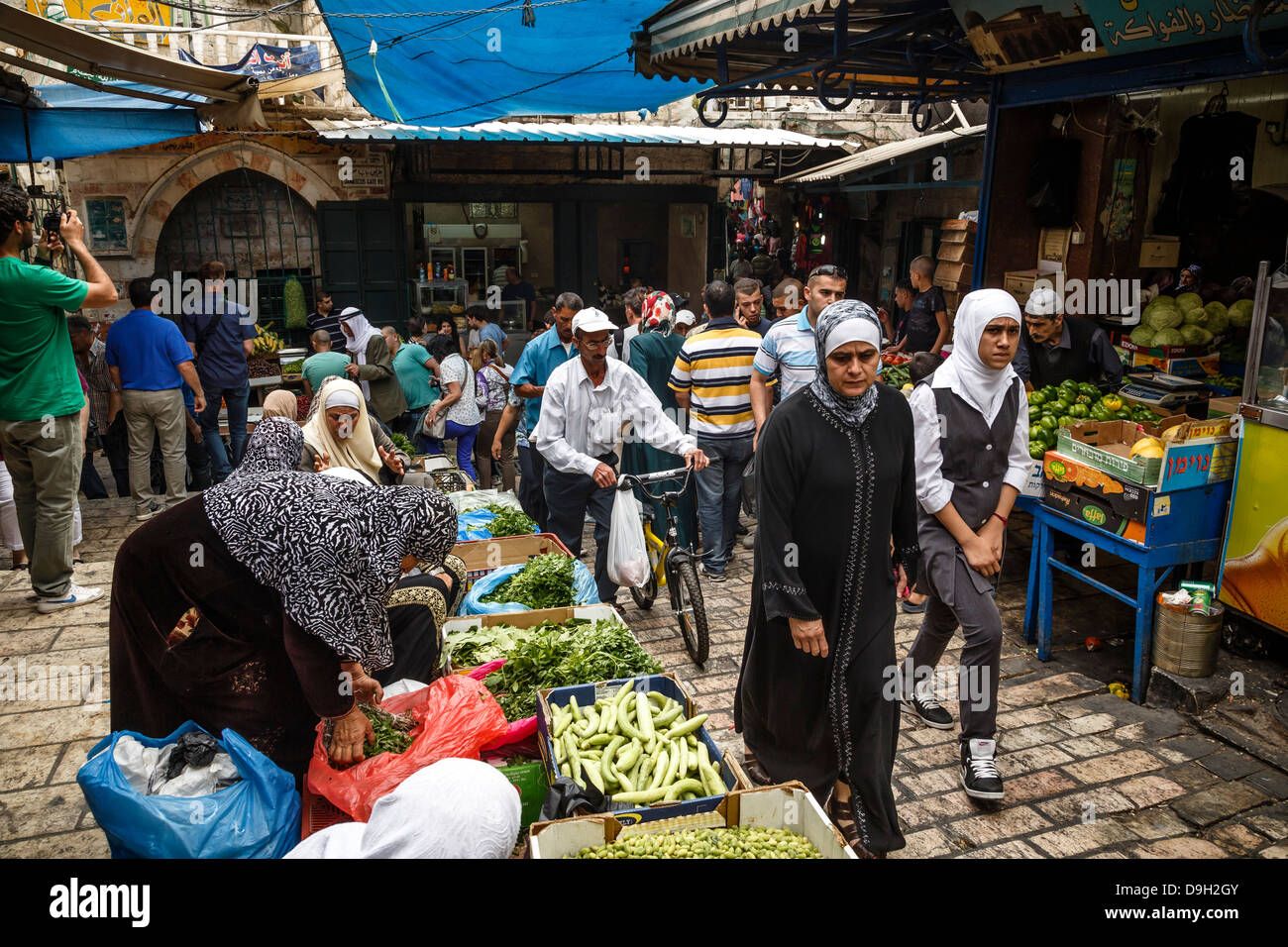 Arab souk, covered market, at the muslim quarter in old city, Jerusalem, Israel. - Stock Image