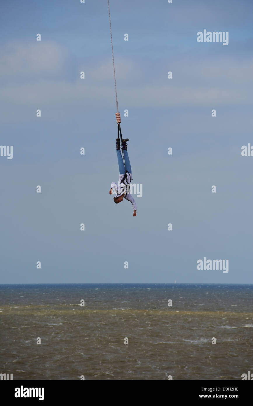 Bungee jumping from the pier, Scheveningen, The Hague (Den Haag), The Netherlands, Europe Stock Photo